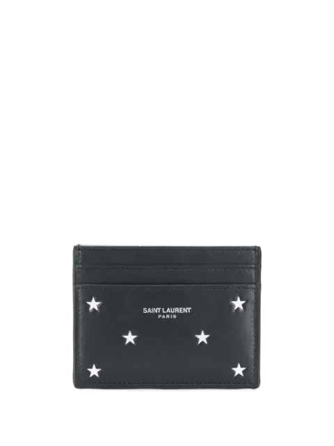 Saint Laurent Star Embossed Leather Card Holder In 1054 Black/Silver