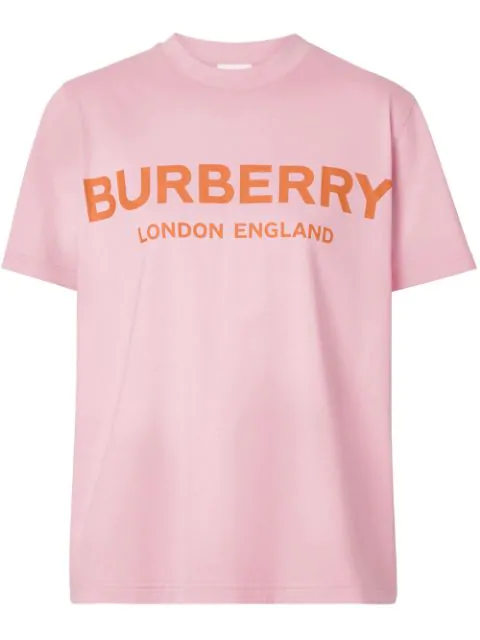 Burberry Logo Printed Cotton Jersey T-shirt In Candy Pink