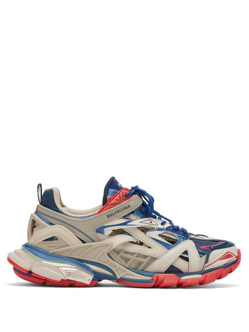 Balenciaga White Men's Blue And Red Track.2 Caged Sneakers In Beige