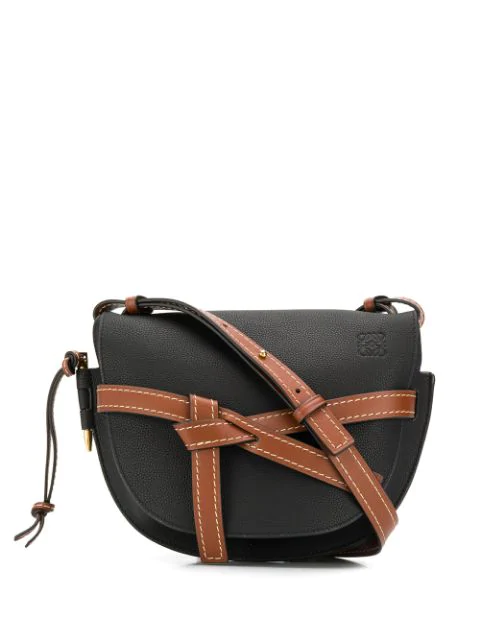 Loewe Gate Small Textured-leather Shoulder Bag In 9006 Blk Pe