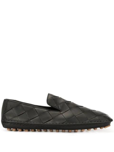Bottega Veneta Douglas Intercciato Leather Loafers In 1000 Black