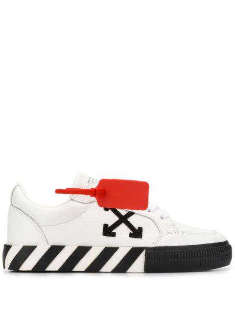 Off-White Black & White Women's Low Top Vulcanized Trainers In 0110 White Black