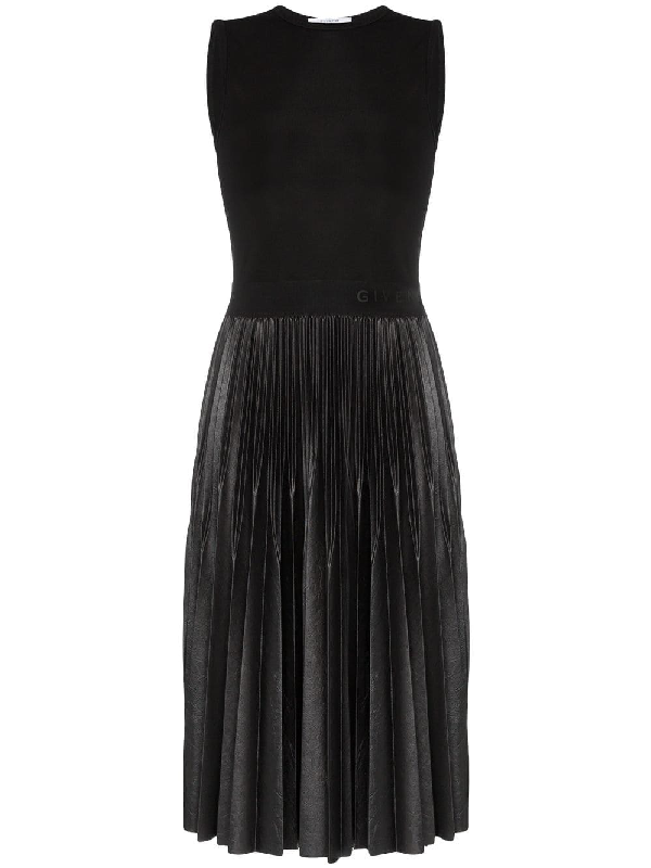 Givenchy Logo-Waistband Crepe And Fauther-Leather Midi Dress In Black