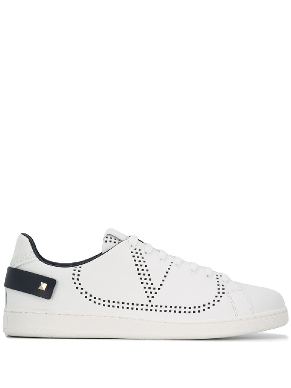 Valentino Low-Top Sneakers Backnet Calfskin Logo Rivets Marine White In M15 Multicoloured