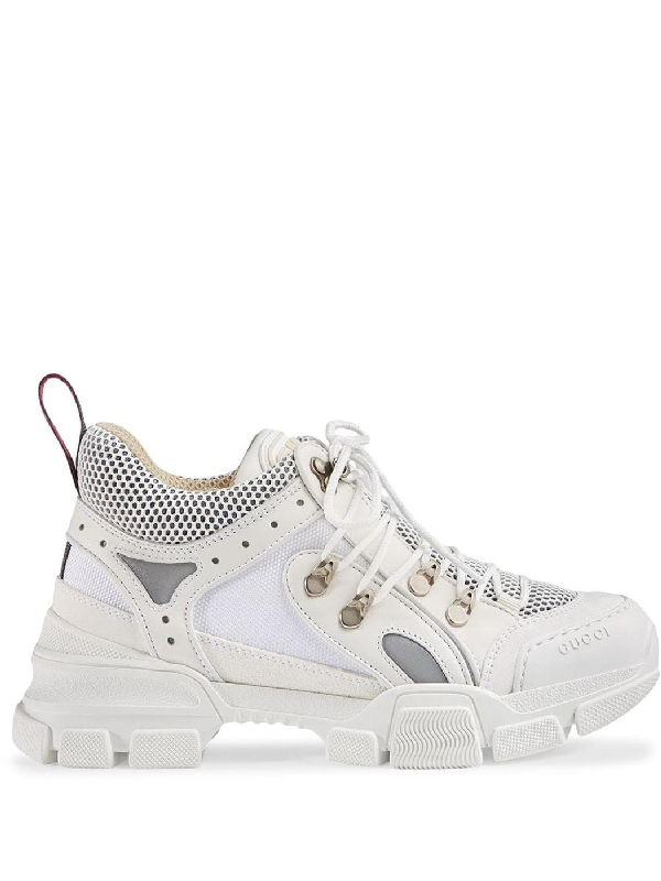 Gucci Flashtrek Logo-embossed Leather, Suede And Mesh Sneakers In White Leather
