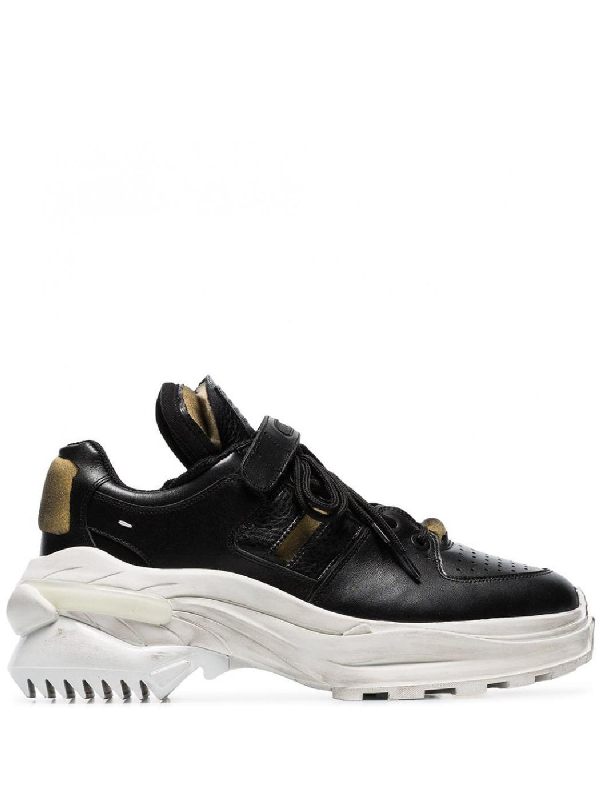Maison Margiela Men's Retrofit Leather Trainer Sneakers With Dirty Treatment In Black