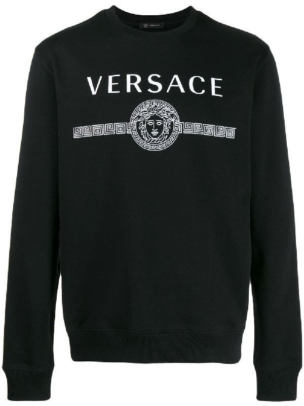 Versace Logo Print Loop Back Cotton Jersey Sweatshirt In Black
