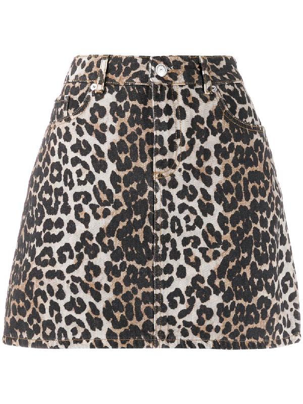 Ganni Jeans Skirt With Animalier Pattern In Neutrals