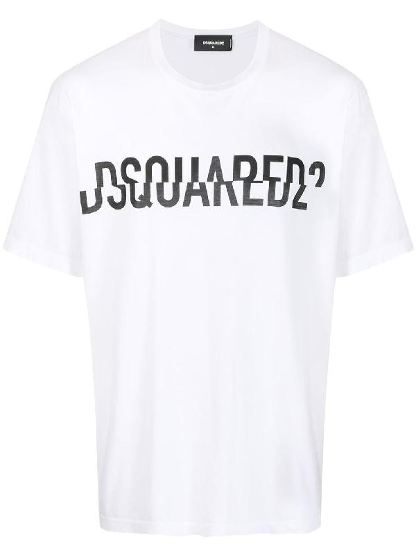 Dsquared2 Sliced Logo-print Cotton T-shirt In White