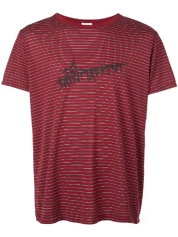 Saint Laurent Men's Striped Star Logo Short-Sleeve T-Shirt In Red