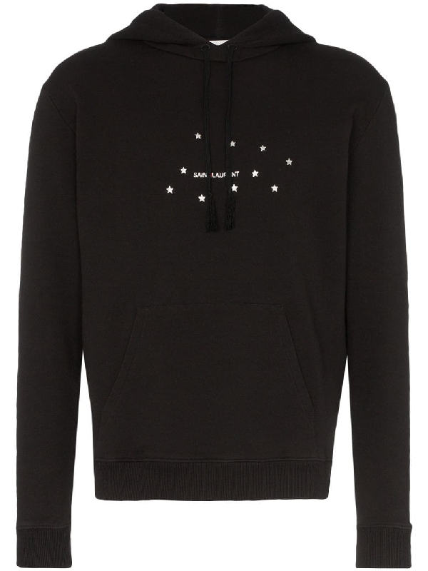 Saint Laurent Men's Stars Logo Pullover Hoodie W/ Kangaroo Pocket In 1081 -Noir/Argent