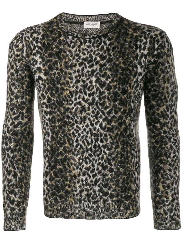 Saint Laurent Wool Sweater With An Allover Leopard Jacquard In 9794 Bgblk