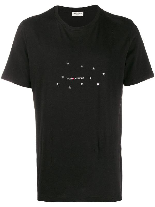 Saint Laurent Men's Stars Logo Short-Sleeve Cotton T-Shirt, Black In 1081 Blksil
