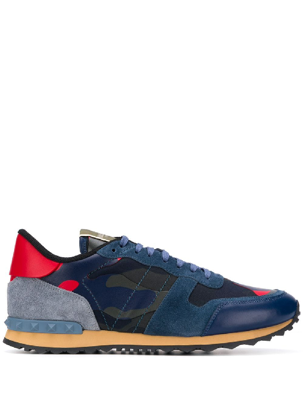 Valentino Garavani Rockrunner Suede, Leather And Canvas Sneakers In Blue