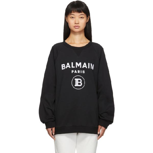 Balmain Black And White Cotton Sweatshirt In Eab Blk/wht