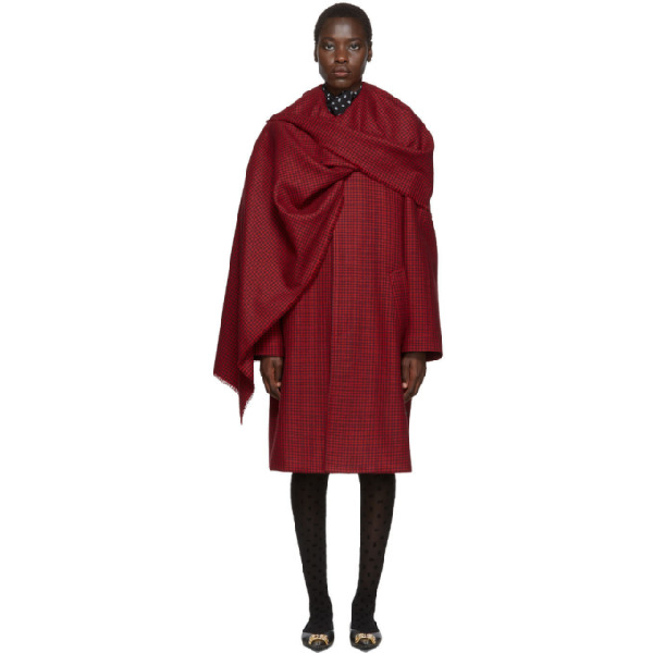 Balenciaga Cocoon Scarf Coat In Red Houndstooth Wool