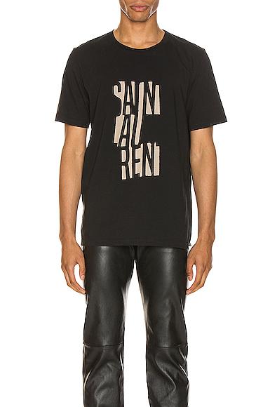 Saint Laurent Black Cotton T Shirt With Logo Print In 1095 Blknat