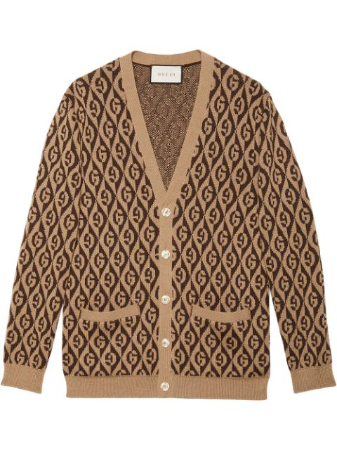 Gucci Men's Rhombus Intarsia-Knit Cardigan Sweater In 2668 Brown