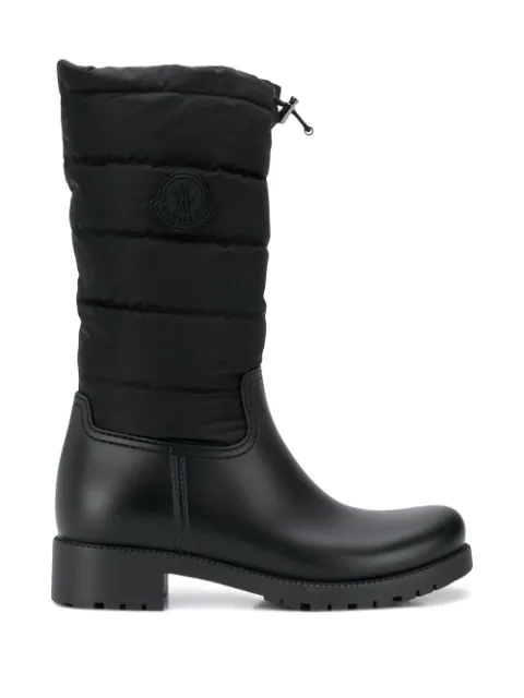Moncler Ginette Logo-patch Quilted-shell And Pvc Boots In Black