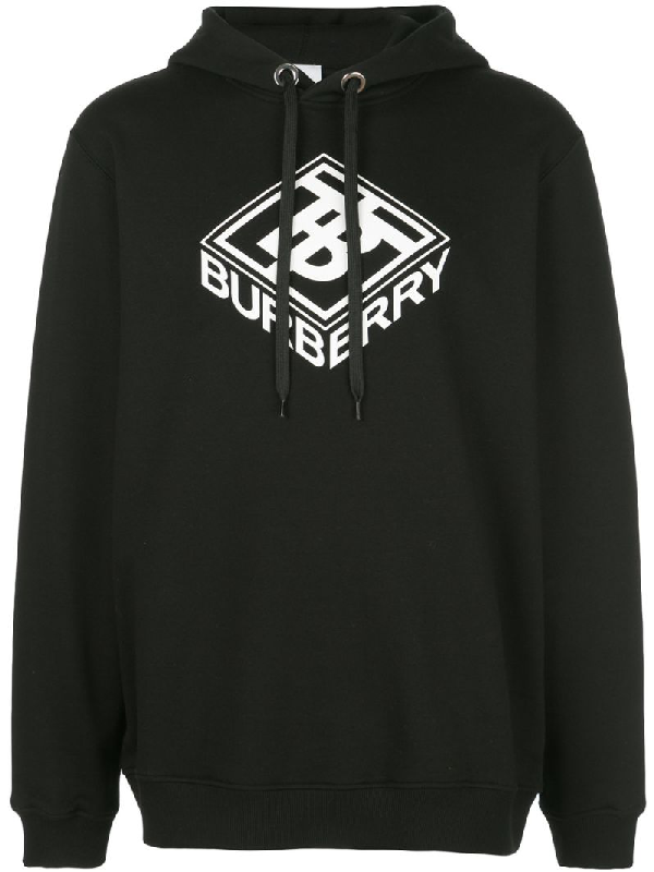 Burberry Ellison Logo-Print Loopback Cotton-Jersey Hoodie In Black