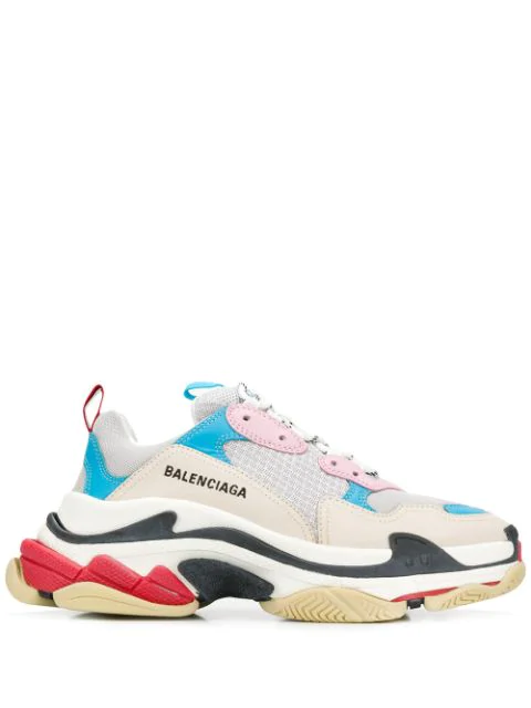 Balenciaga Triple S Logo-embroidered Leather, Nubuck And Mesh Sneakers In 4196 White/