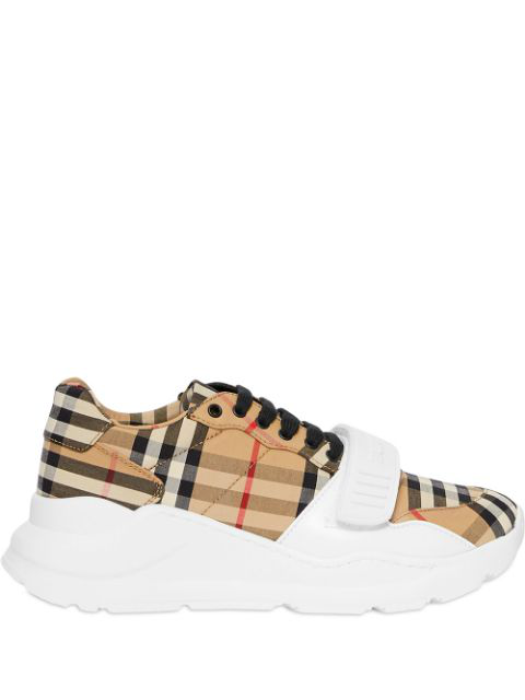 Burberry Regis Check Low-Top Sneakers With Exaggerated Sole In Neutrals