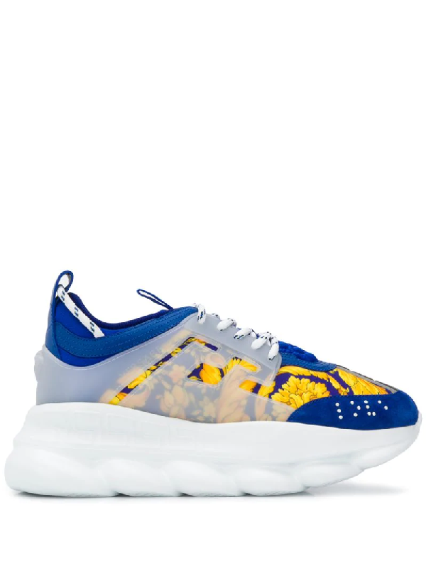 Versace Chain Reaction Panelled Shell, Rubber And Suede Sneakers In Blue
