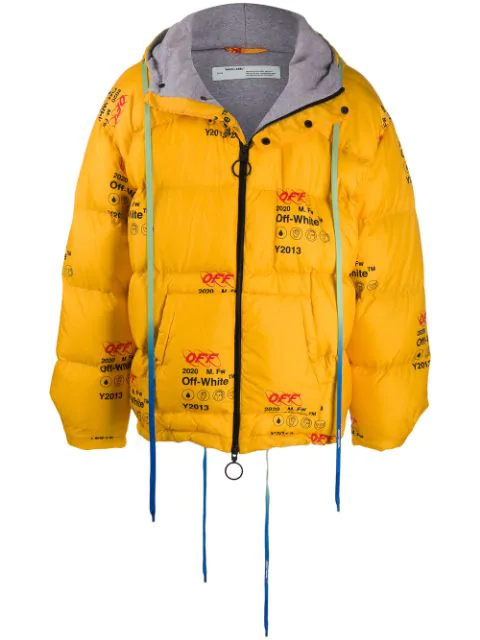 Off-White Industrial Logo-Print Quilted Down Jacket In Yellow