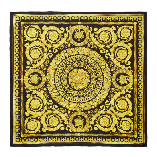 Versace Baroque And Leopard-Print Silk Scarf In Multi