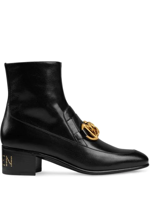 Gucci Women's Leather Horsebit Chain Boots In Black