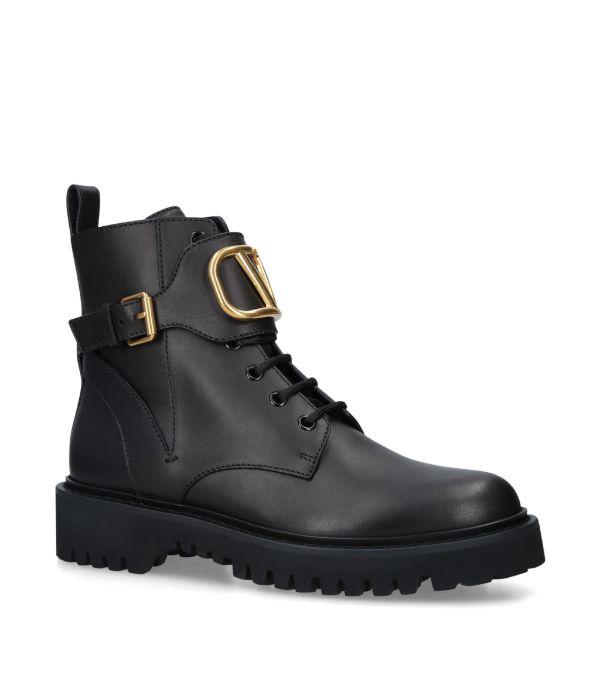 Valentino Garavani Ankle Boots Combat Boots  Calfskin Logo Metallic Black
