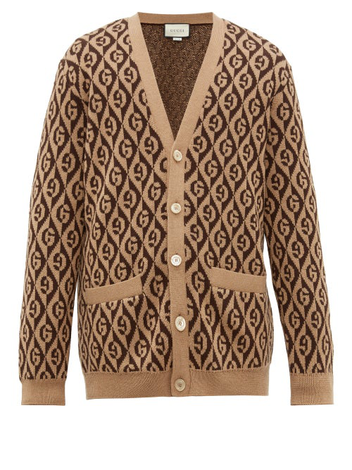 Gucci Men's Rhombus Intarsia-Knit Cardigan Sweater In Brown