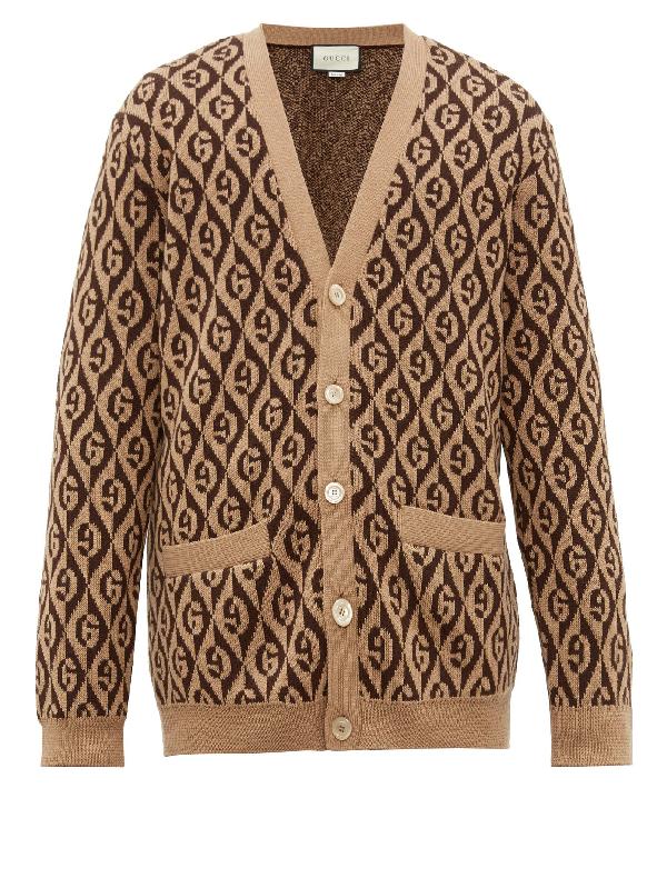Gucci Rhombus Gg Logo-intarsia Cardigan In 2668 Camelb