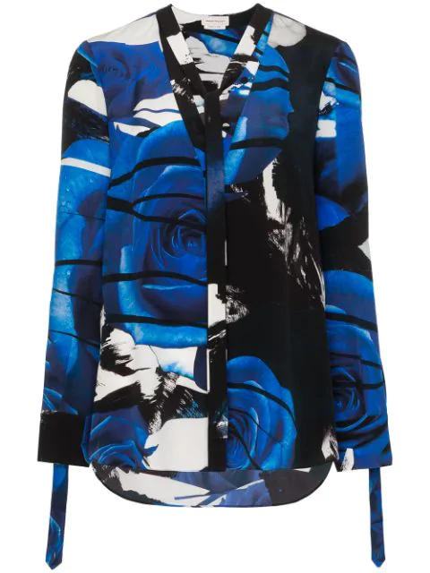 Alexander Mcqueen Abstract Rose Print Blouse In Blue