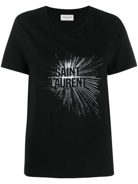 Saint Laurent Logo Print Cotton Jersey T-shirt In Black