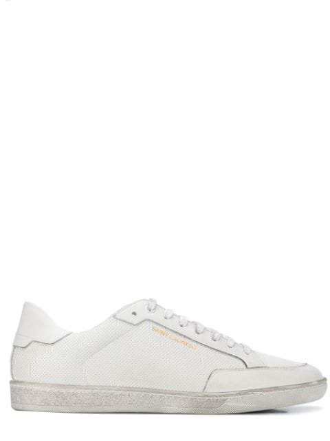 Saint Laurent Sl/01 Court Sneakers In Optic White Leather