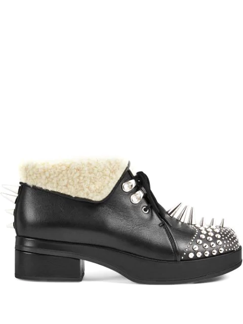 Gucci Shearling-trimmed Spiked Leather Boots In Black