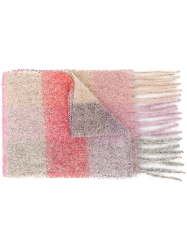 Acne Studios Multi Check Scarf In Pink