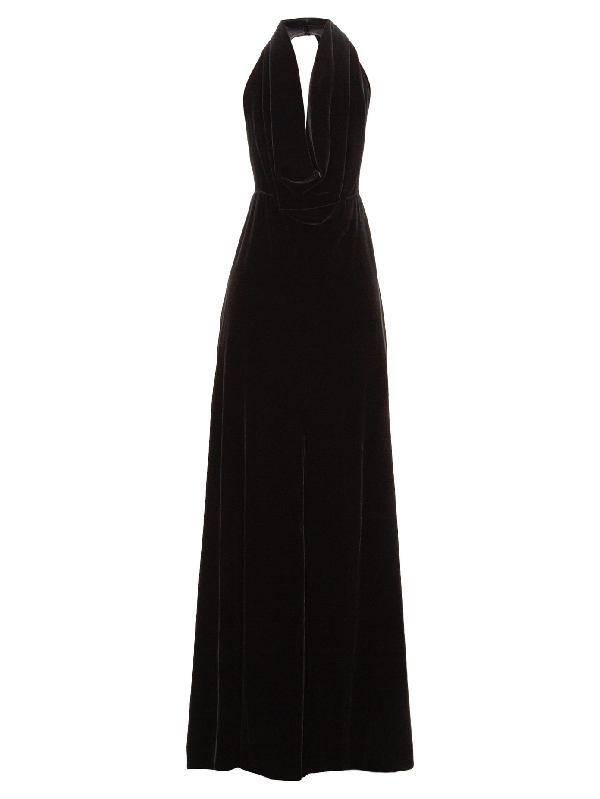 A.W.A.K.E. Oyster Halterneck Velvet Maxi Dress In Black