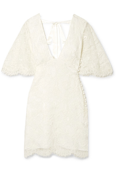 Les Rêveries Open-back Corded Lace Mini Dress In Ivory