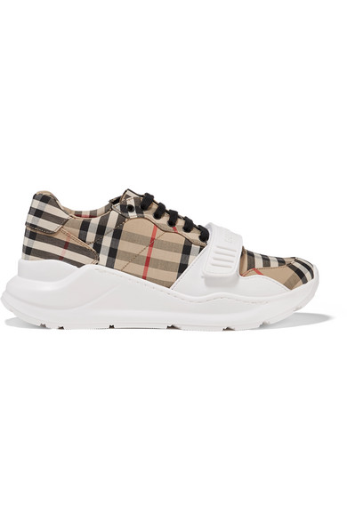 Burberry Regis Check Low-Top Sneakers With Exaggerated Sole In Beige