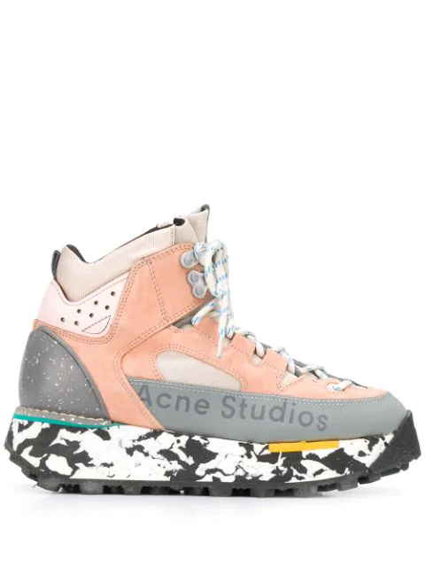 Acne Studios Bertrand W Hiking Boots In Pink Calf Leather In Bm3-Multi Pink