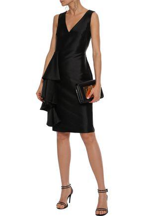 Badgley Mischka Woman Ruffled Satin-twill Dress Black