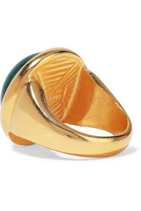 Ben-amun Woman 24-karat Gold-plated Stone Ring Green