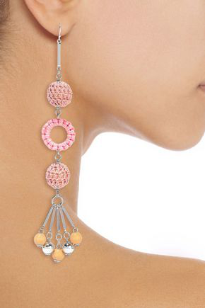 Ben-amun Silver-tone, Bead And Cord Earrings In Pink