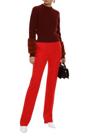 Bottega Veneta Woman Wool-twill Straight-leg Pants Red