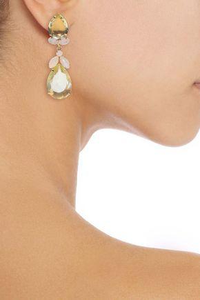 Bounkit Woman 14-karat Gold-plated, Quartz And Moonstone Earrings Gold