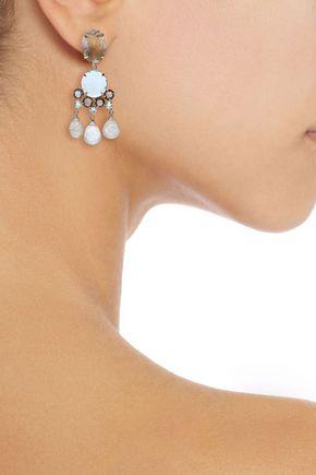 Bounkit Woman 14-karat Gold-plated Quartz Earrings Blush