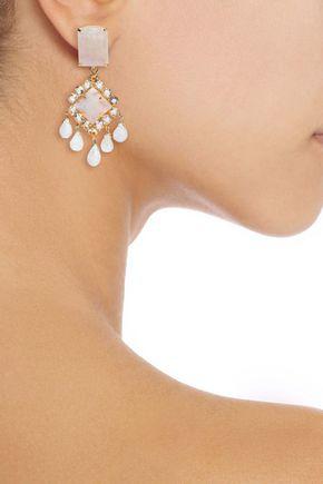 Bounkit 14-karat Gold-plated, Quartz And Moonstone Earrings In White