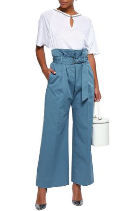Brunello Cucinelli Woman Belted Cotton-blend Poplin Wide-leg Pants Light Blue